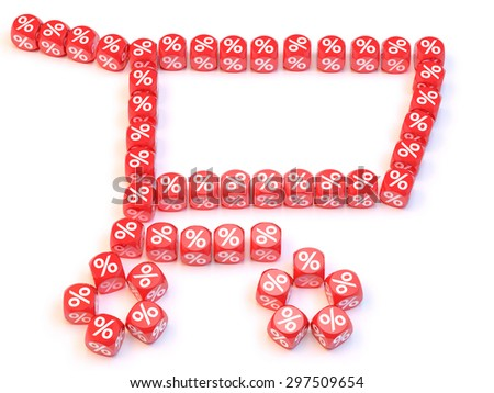 Group a percentage dice create a chart shape - stock photo