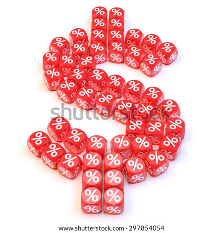 Group a percentage dice create a dollar shape - stock photo