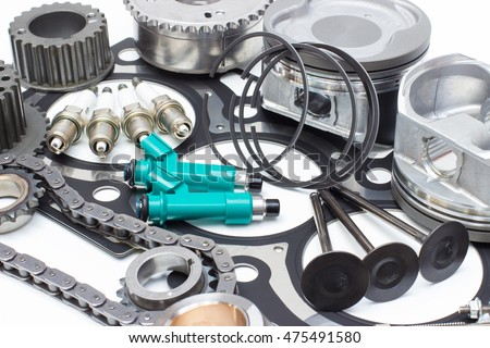 Group automobile engine parts isolated on light background