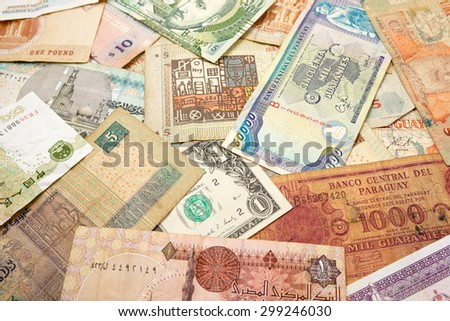 Group banknotes of different countries. - stock photo