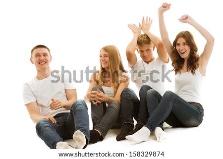 Group beautiful of happy young people - stock photo