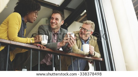 Group Business People Chatting Balcony Concept - stock photo