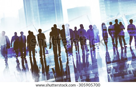 Group Business People Walking Forward Cityscape Concept - stock photo