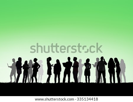 Group Business Silhouettes Outdoors Copy Space Concept