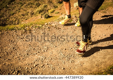 Group by trail by mountains of Gran Canaria
