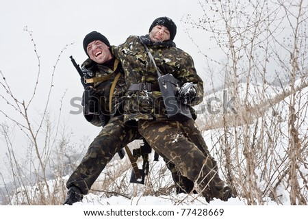 group commando.bullet wound.Warriors with a weapon.Ambush. military action . - stock photo