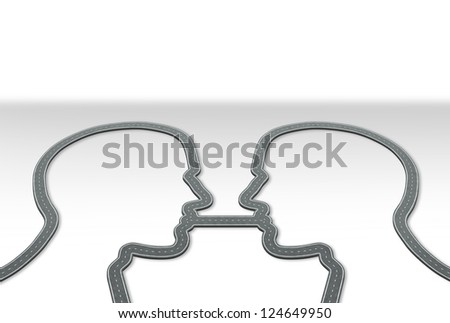 Group communication and information highway business concept with roads and streets shaped as a human head path connected together by one common road as an icon of relationship strategy. - stock photo