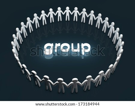 Group concept. A group of icon people standing in a circle.