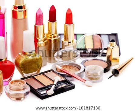Group decorative cosmetics. Close up. - stock photo