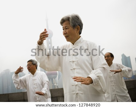 Group doing tai chi outdoors with city skyline in background - stock photo