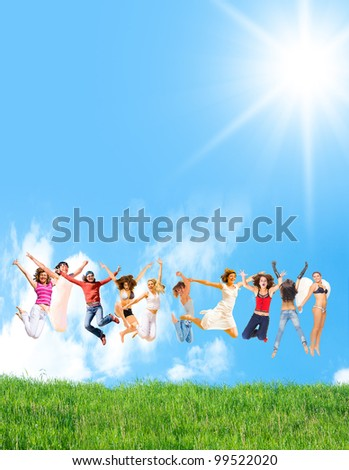 Group Ecstasy Jumping Frenzy - stock photo