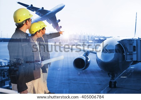 group engineer on site with Airplane at the terminal gate , Modern international airport Concept of freight cargo plane in transport and import-export commercial logistic ,shipping business industry  - stock photo