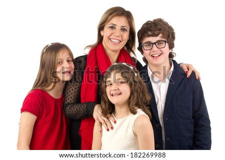 Group family shot of Mother , son and two beautiful daughters isolated  - stock photo