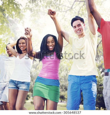 Group Friends Celebration Winning Victory Fun Concept