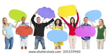 Group Friends Opinion Speech Bubbles Expression Concept - stock photo