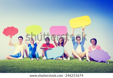 Group Friends Outdoors Speech Bubbles Expression Concept - stock photo