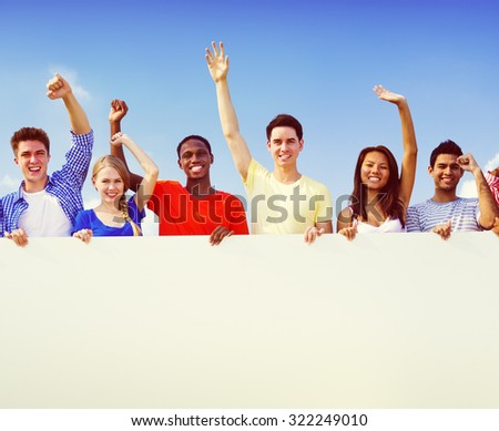 Group Friends Outdoors Volunteer Unity Cooperation Fun Concept - stock photo