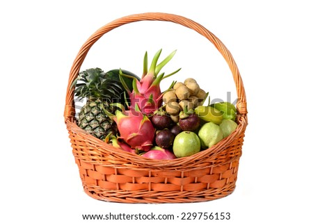 Group fruit in basket mixed isolated on white background