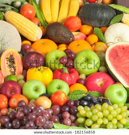 Group fruits for healthy - stock photo