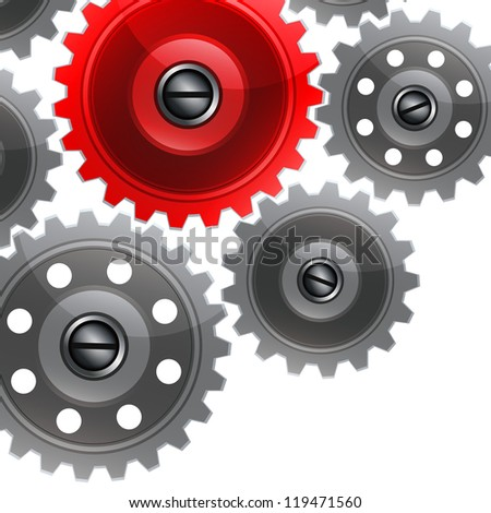Group gears on white background.