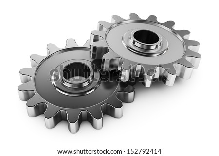 Group gears with teeth. Parts of the mechanism transmission. Objects isolated on white background