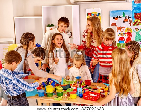 Group happy children painting at art school. Education. - stock photo