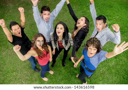 Group happy people in summer outdoor. - stock photo