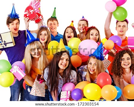 Group happy people with balloon on party. Isolated.