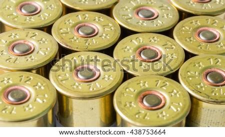 group hunting cartridges for shotgun closeup background - stock photo
