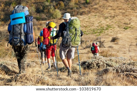group in hike - stock photo
