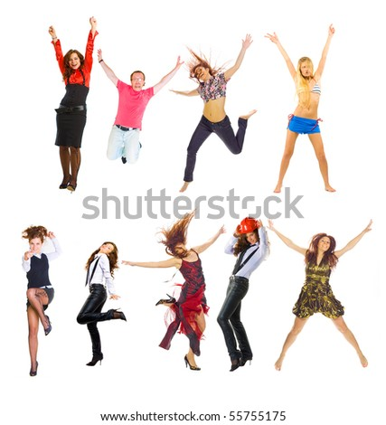 Group Jump Frenzy!!! - stock photo