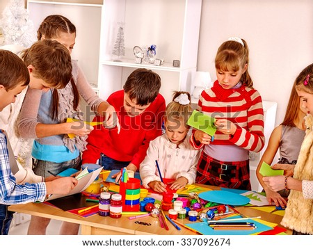 Group kids painting at art school. Education. - stock photo