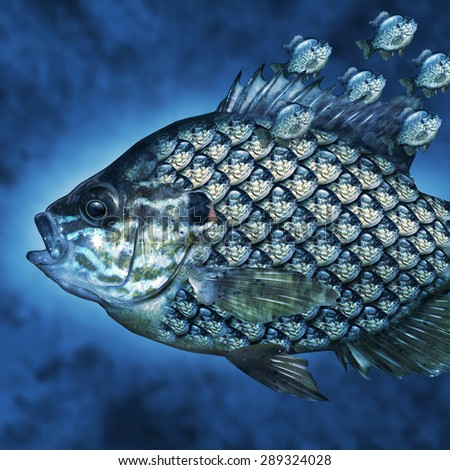 Group Leadership Management business concept as a big fish carrying a group of smaller fish as scales on the aquatic animal as a manager symbol for leading an organization and training. - stock photo