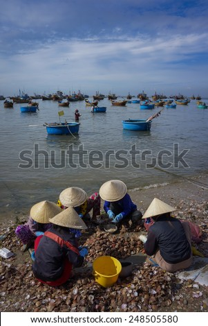 Group local woman with conical hat is working on the shore in Mui Ne fishing village, Phan Thiet city, Viet Nam - stock photo