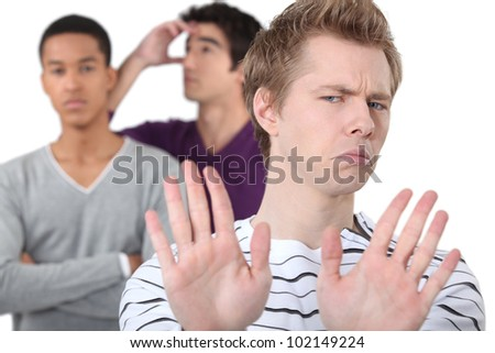 group male students quarreling - stock photo