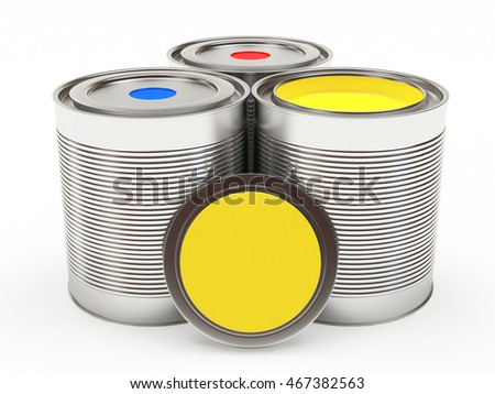 Group metal cans with colorful paints with space for text on white background. 3D illustration
