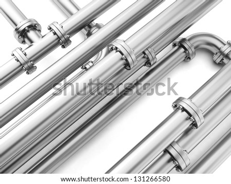 Group metal pipe on a white background close-up. - stock photo