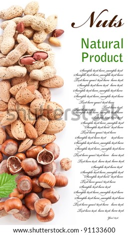 Group mixed nuts. Space for text on the right. - stock photo