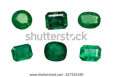 Group Natural Emerald isolated on white background - stock photo