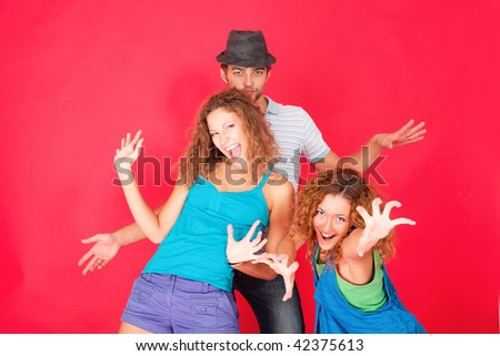 Group of a cheerful young people. Fashion, education, holidays. - stock photo