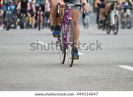 Group of a cyclist at bike race