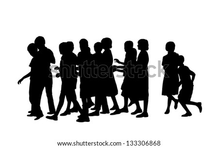 group of a dozen of children of school age walking together