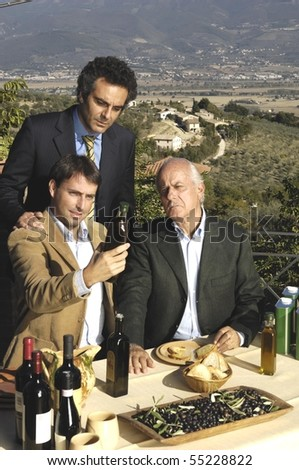 group of a family farmers - stock photo