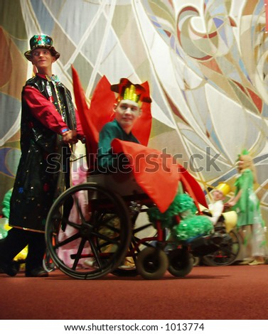 group of actors-disabled persons at their performance - stock photo