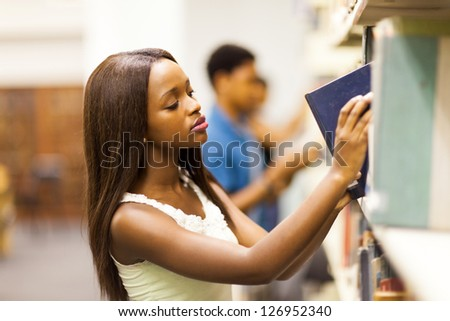 group of african college students in library - stock photo