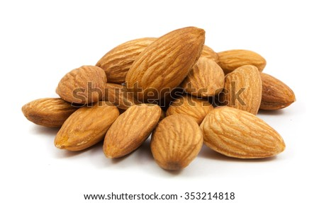 group of almonds isolated on white - stock photo