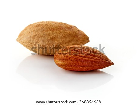 Group of almonds on white background, isolated