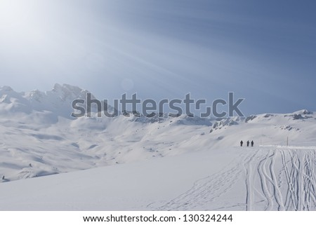 Group of alpine touring skiers on Swiss Alps.  Flumserberg, Switzerland.