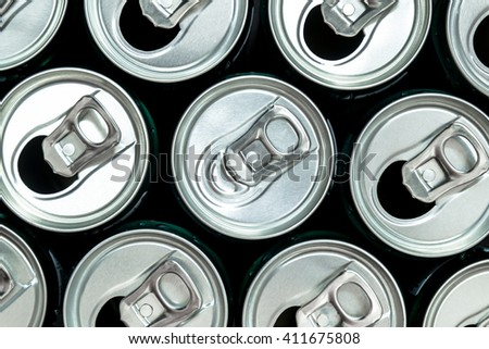 Group of aluminum cans - stock photo