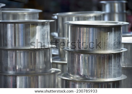 group of  aluminum kitchen utensils of one type